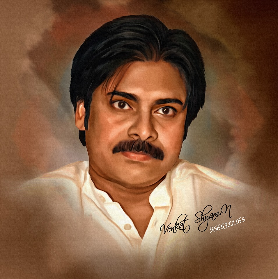 pawankalyan actor digital painting by venkat shyam