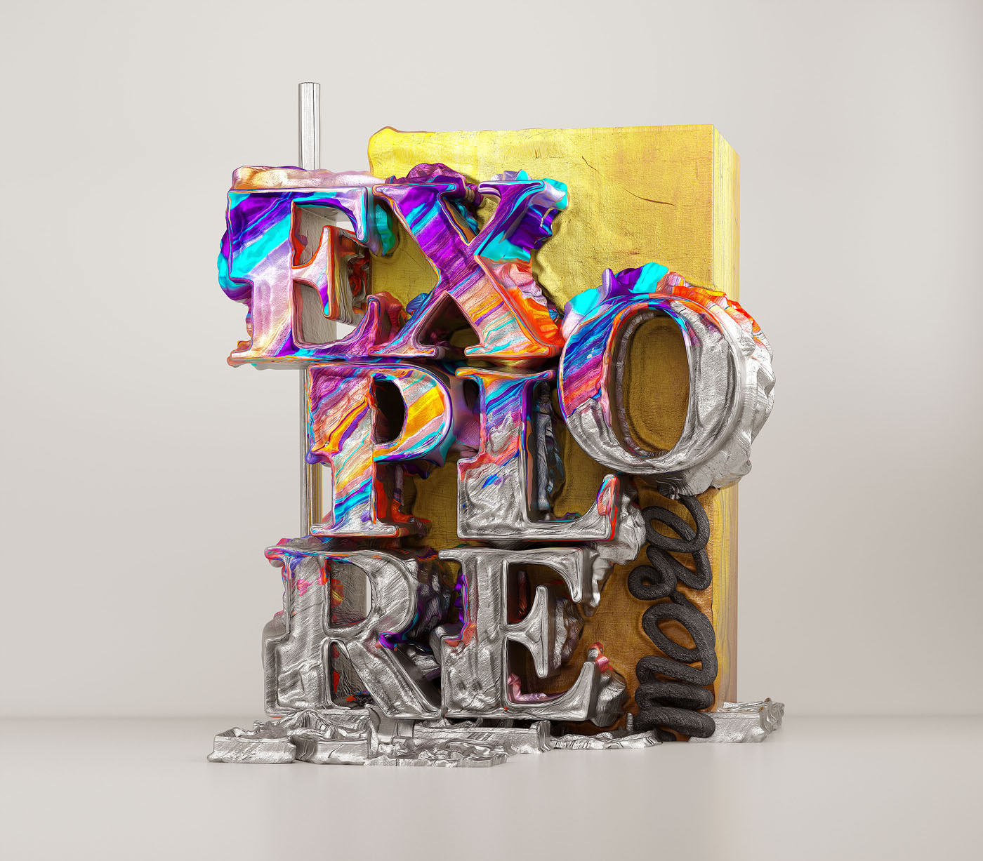 3d typography design explore by omanaquil