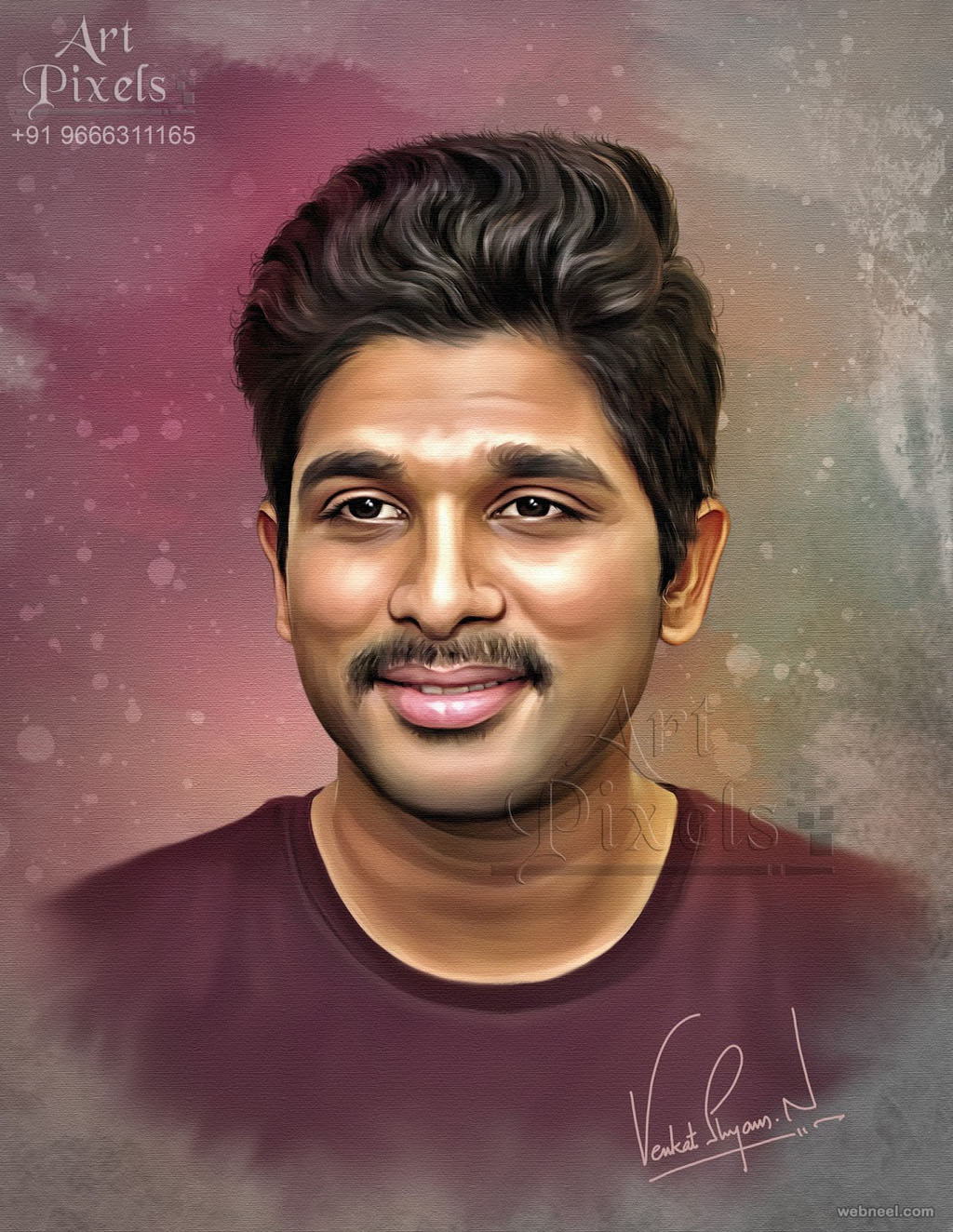 alluarjun actor digital painting