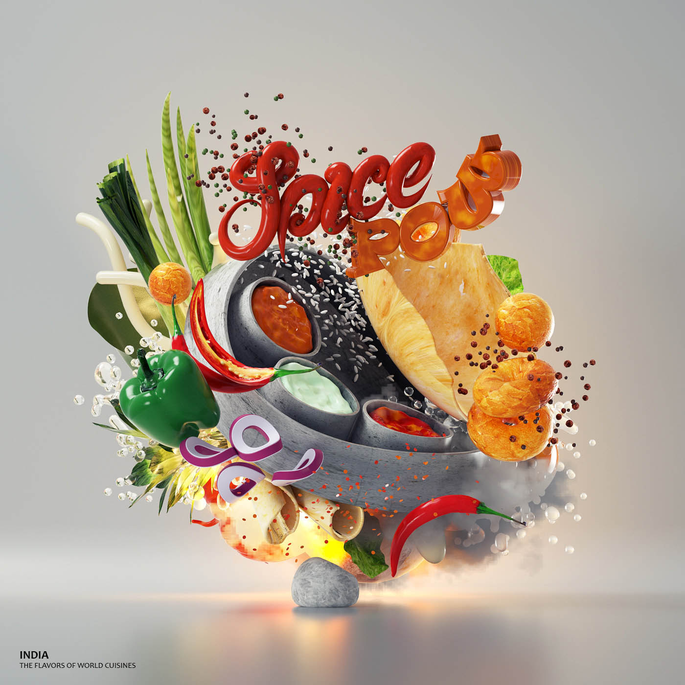 3d typography design india by omanaquil