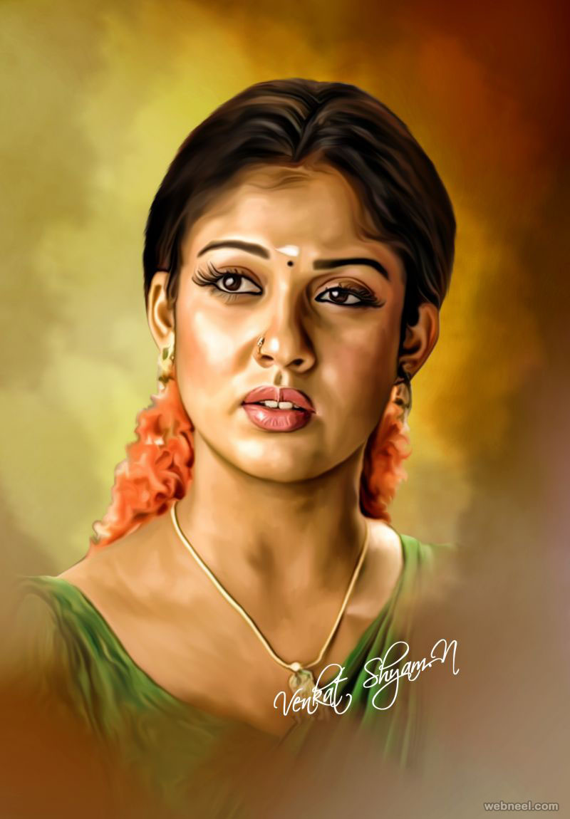 actress nayantara digital painting by venkat shyam