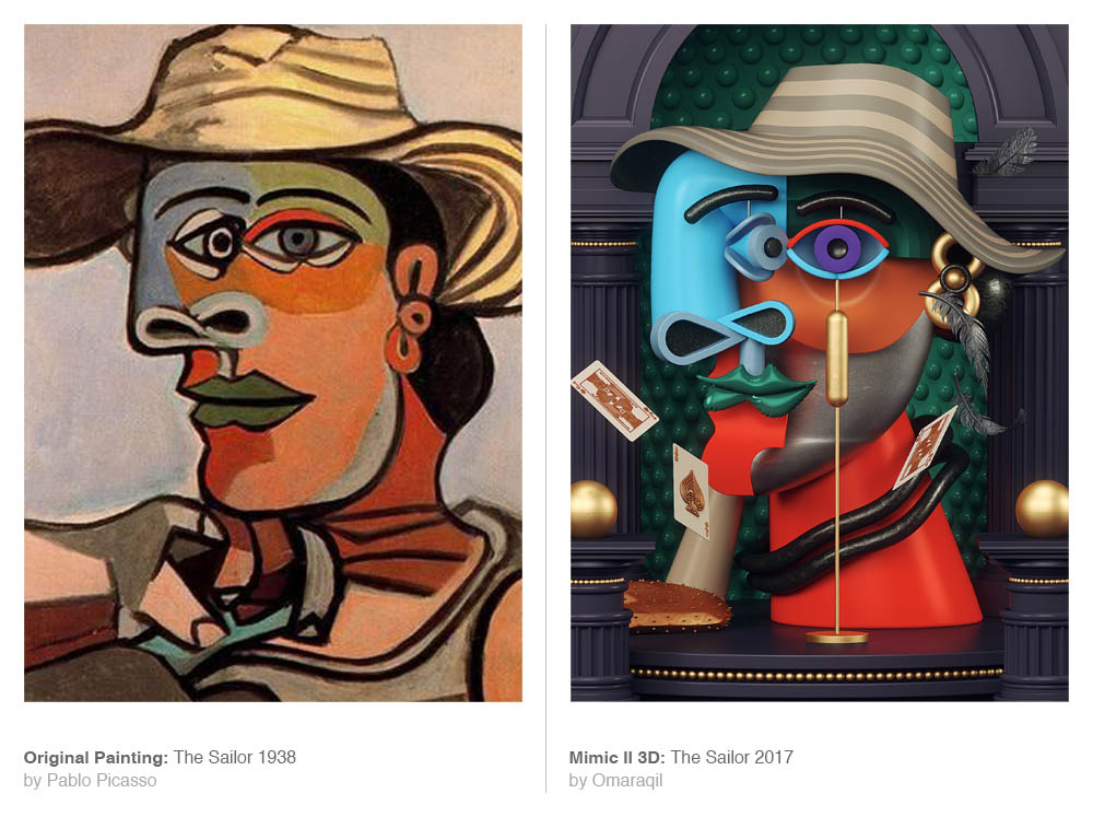 picasso painting 3d model sailor