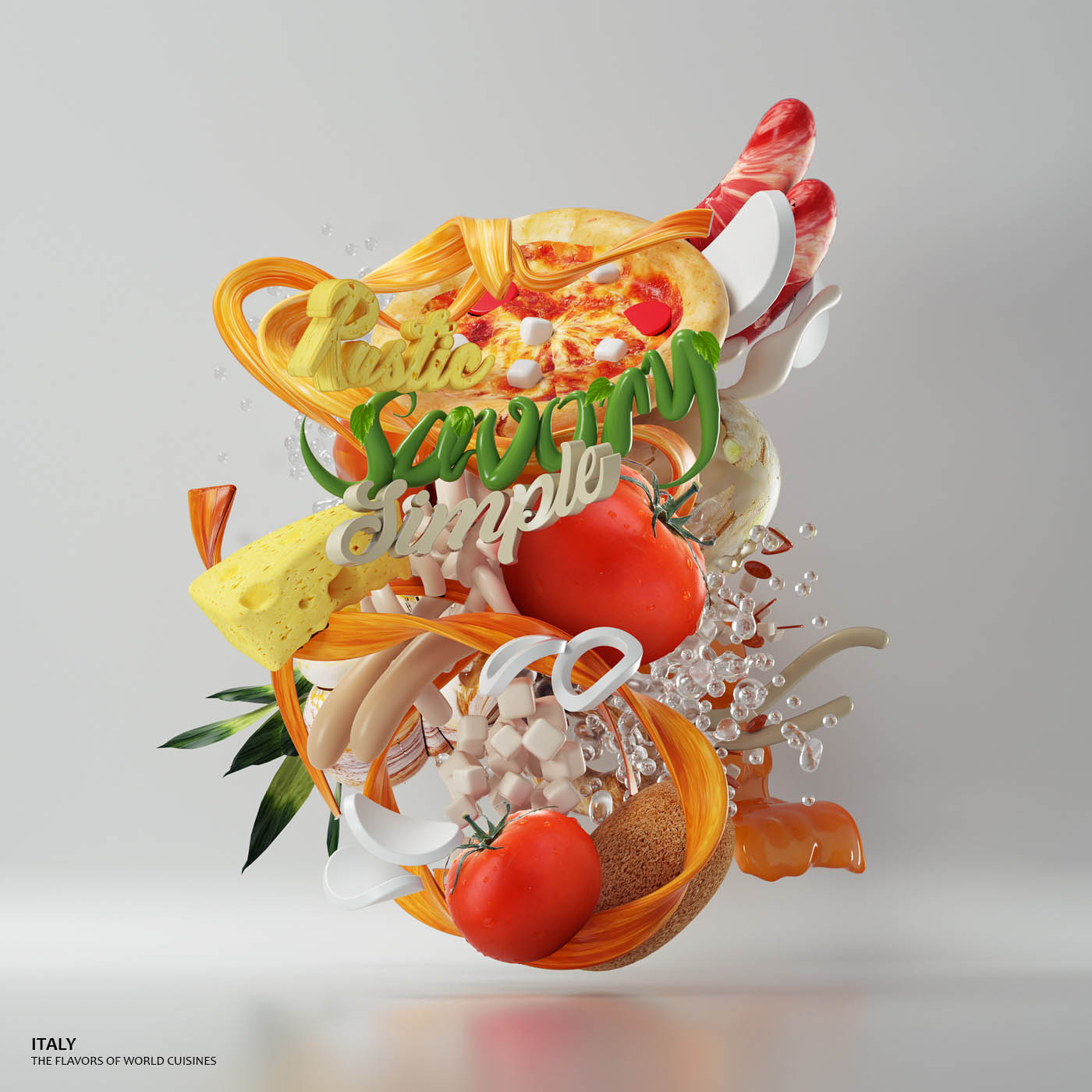 3d typography design italy by omanaquil