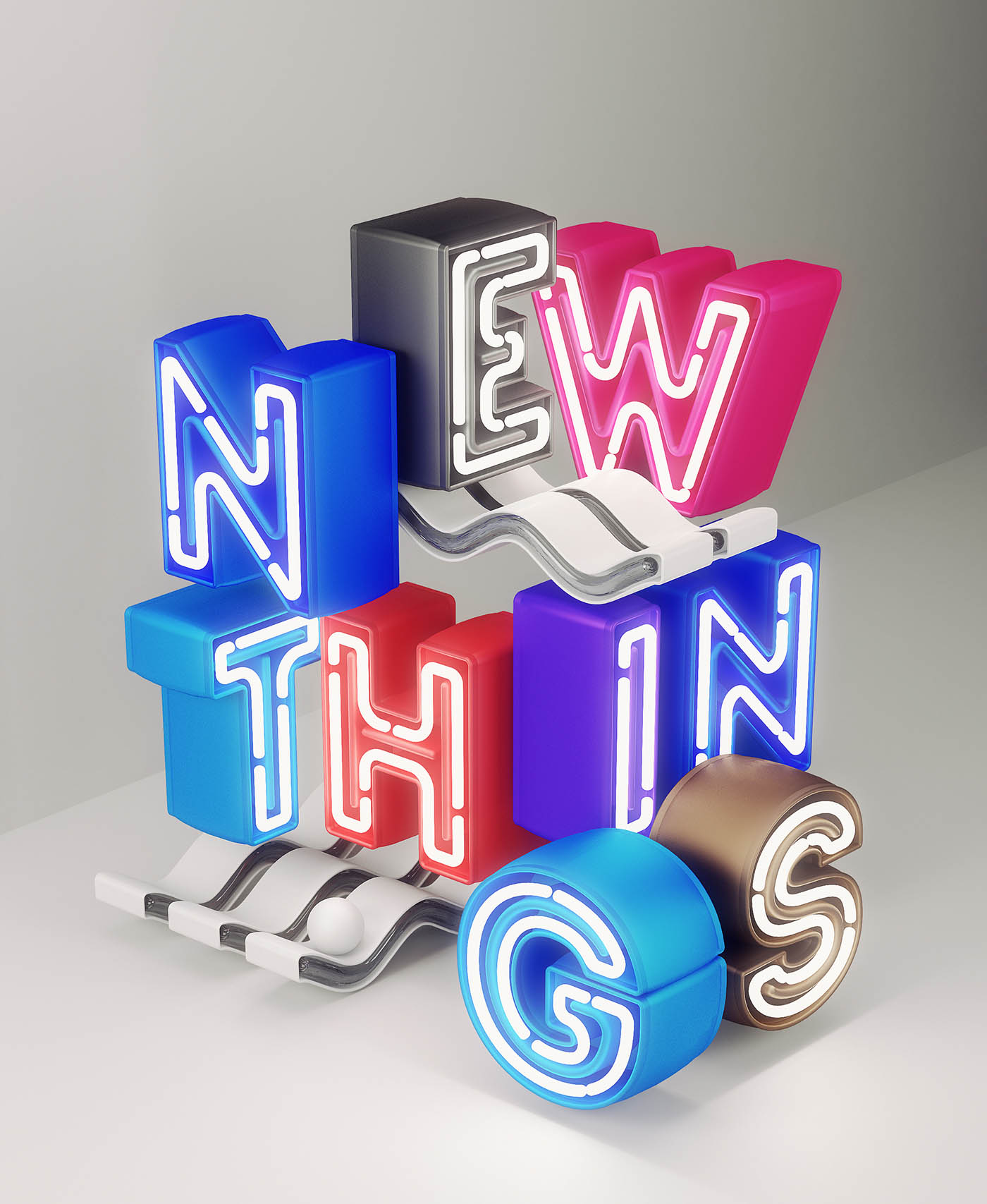 3d typography design new things