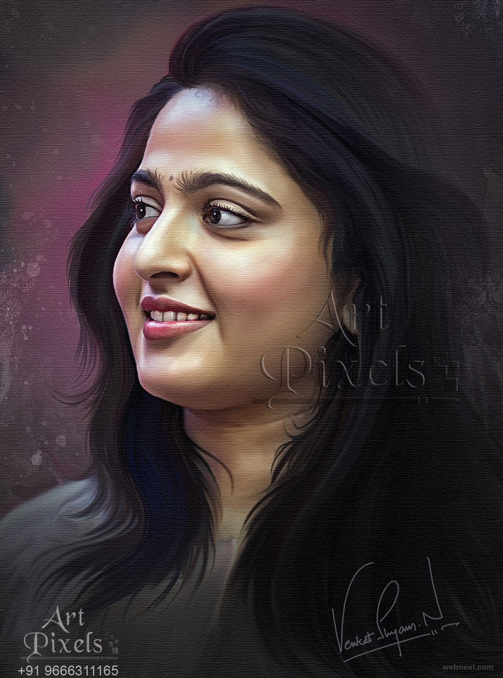 anushkaa shetty actress digital painting by venkat shyam