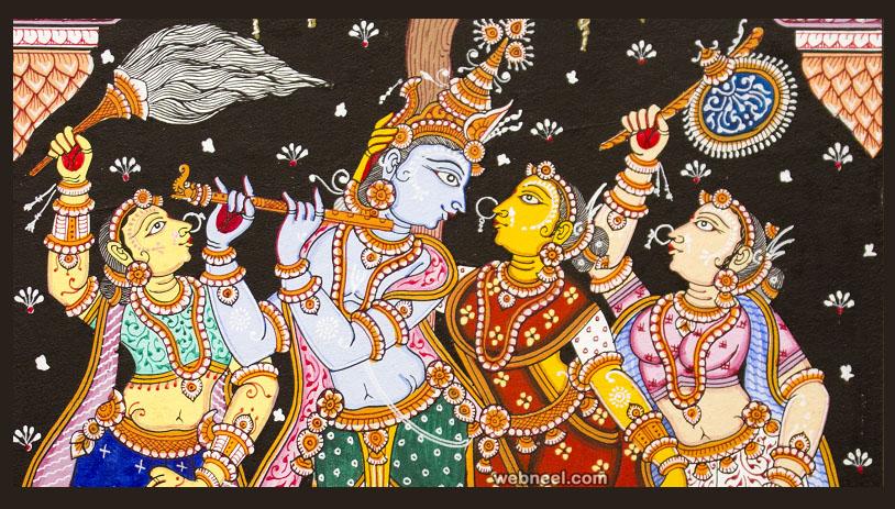 krishna radha odisha patta chitra painting