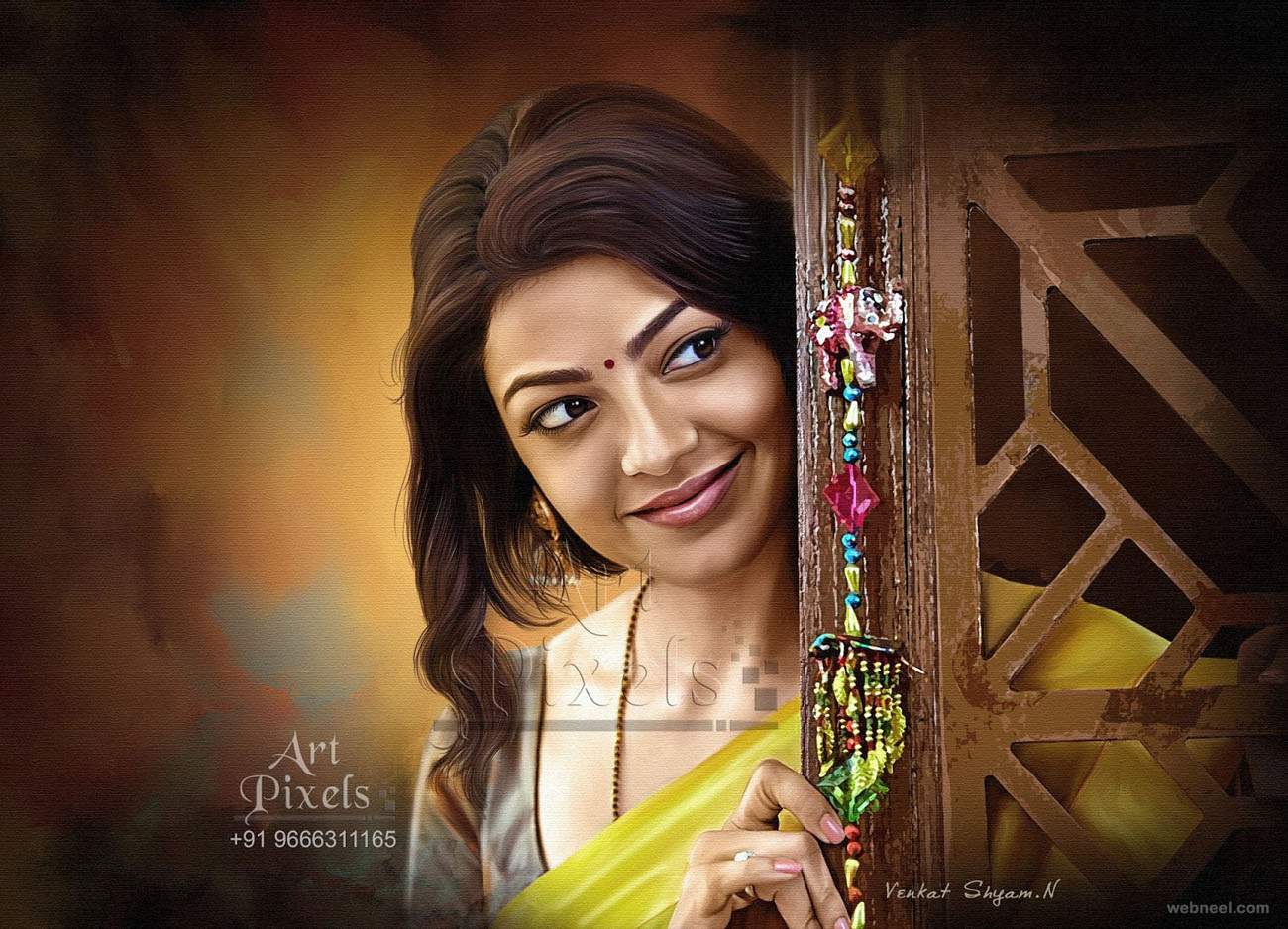 kajal agarwal actress digital painting