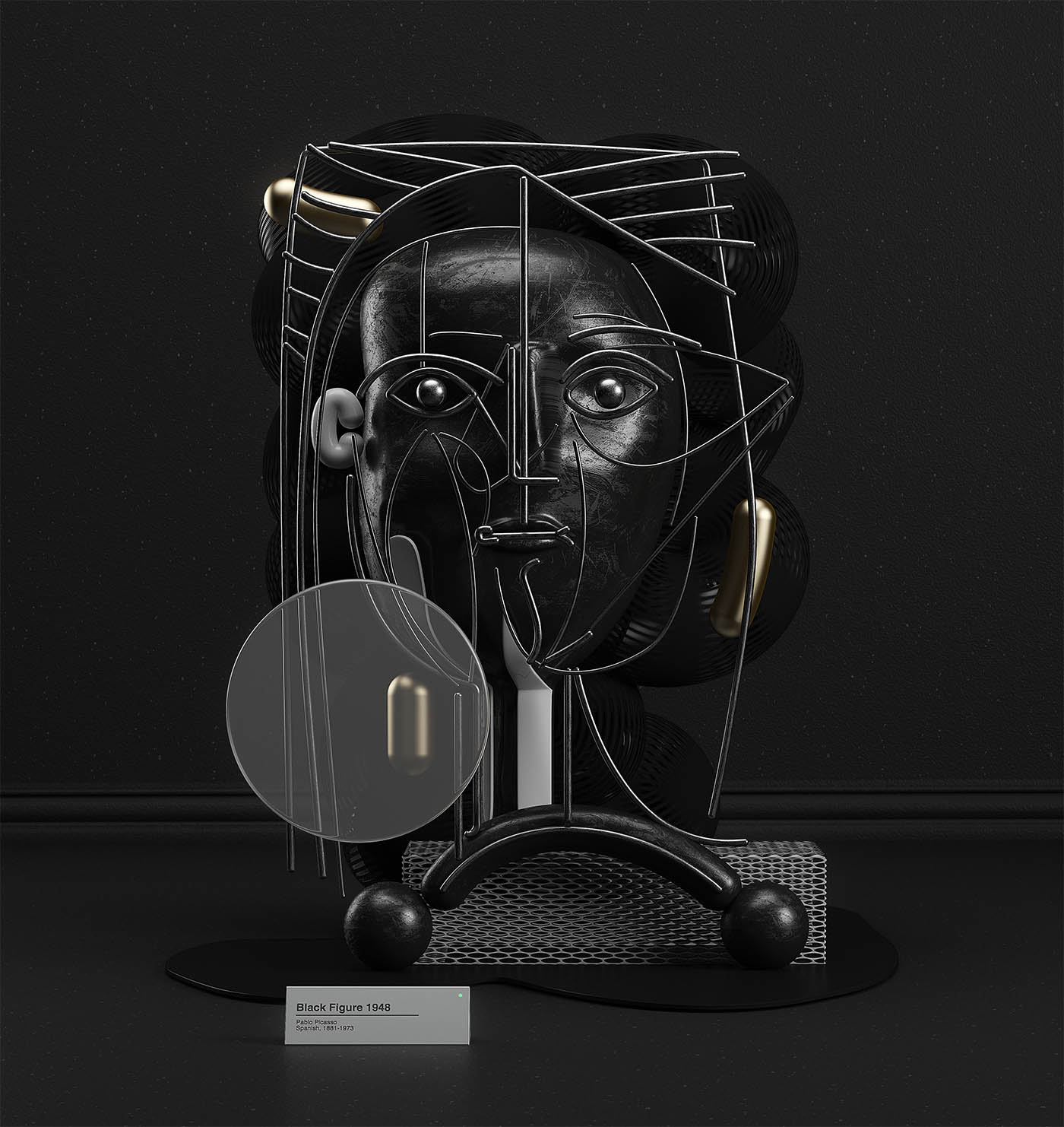 picasso painting 3d model black figure