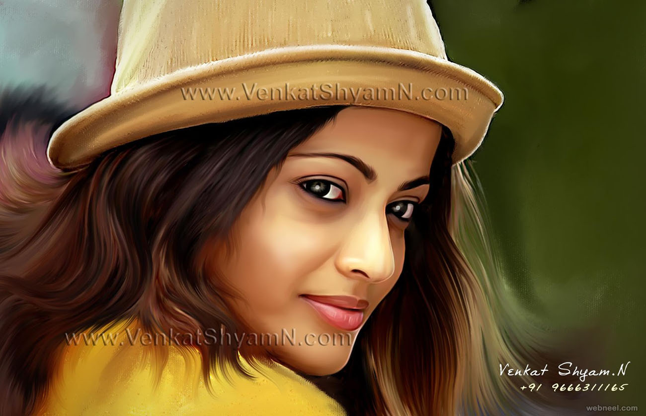 sneha ullal actress digital painting by venkat shyam
