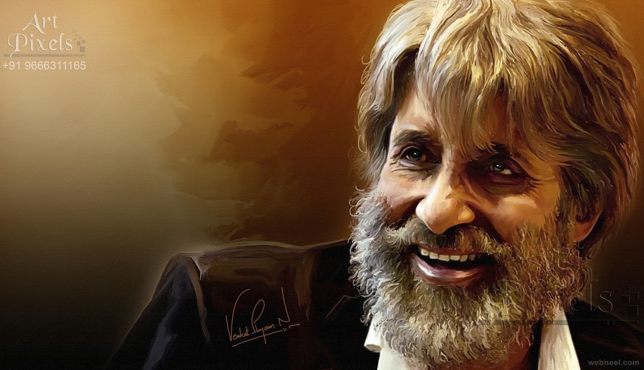 amithabh bachan actor digital painting by venkat shyam