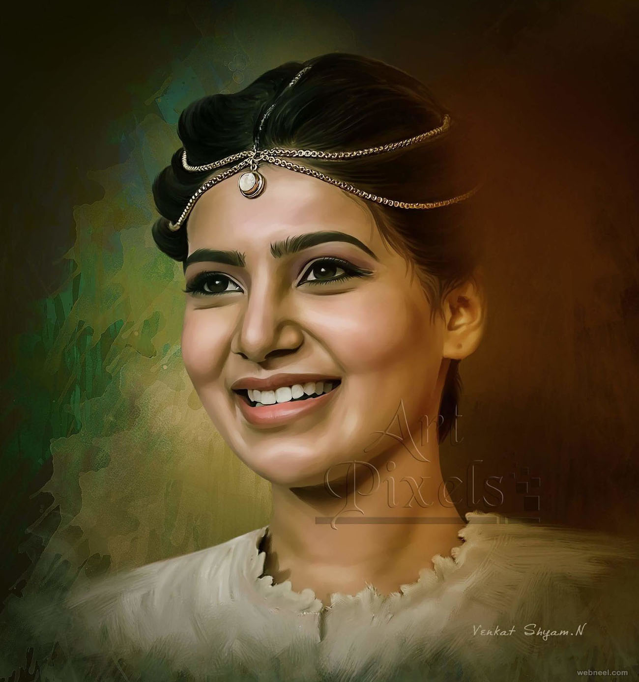 samantha actress digital painting by venkat shyam