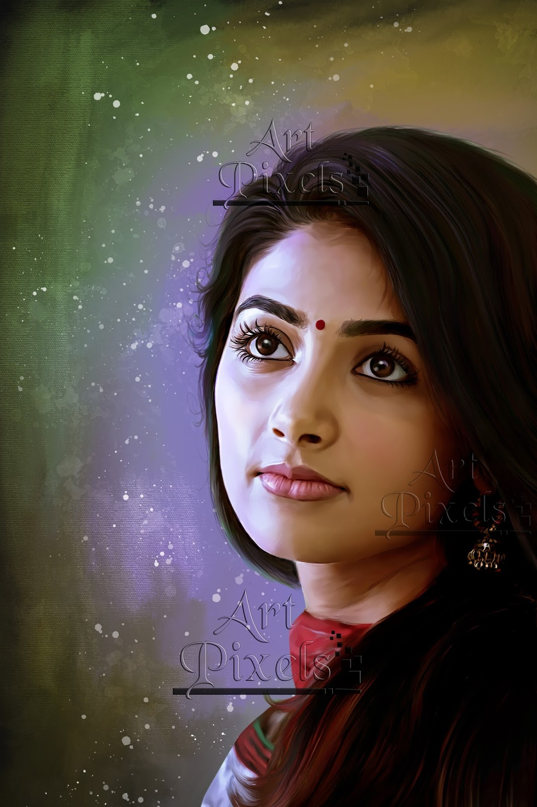pooja hegde actress digital painting