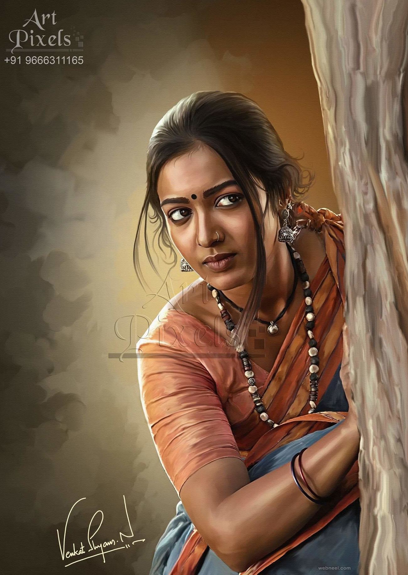 actress catherine tresa digital painting by venkat shyam