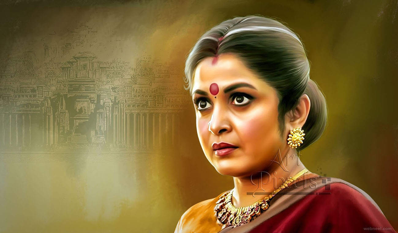 actress ramyakrishnan digital painting by venkat shyam