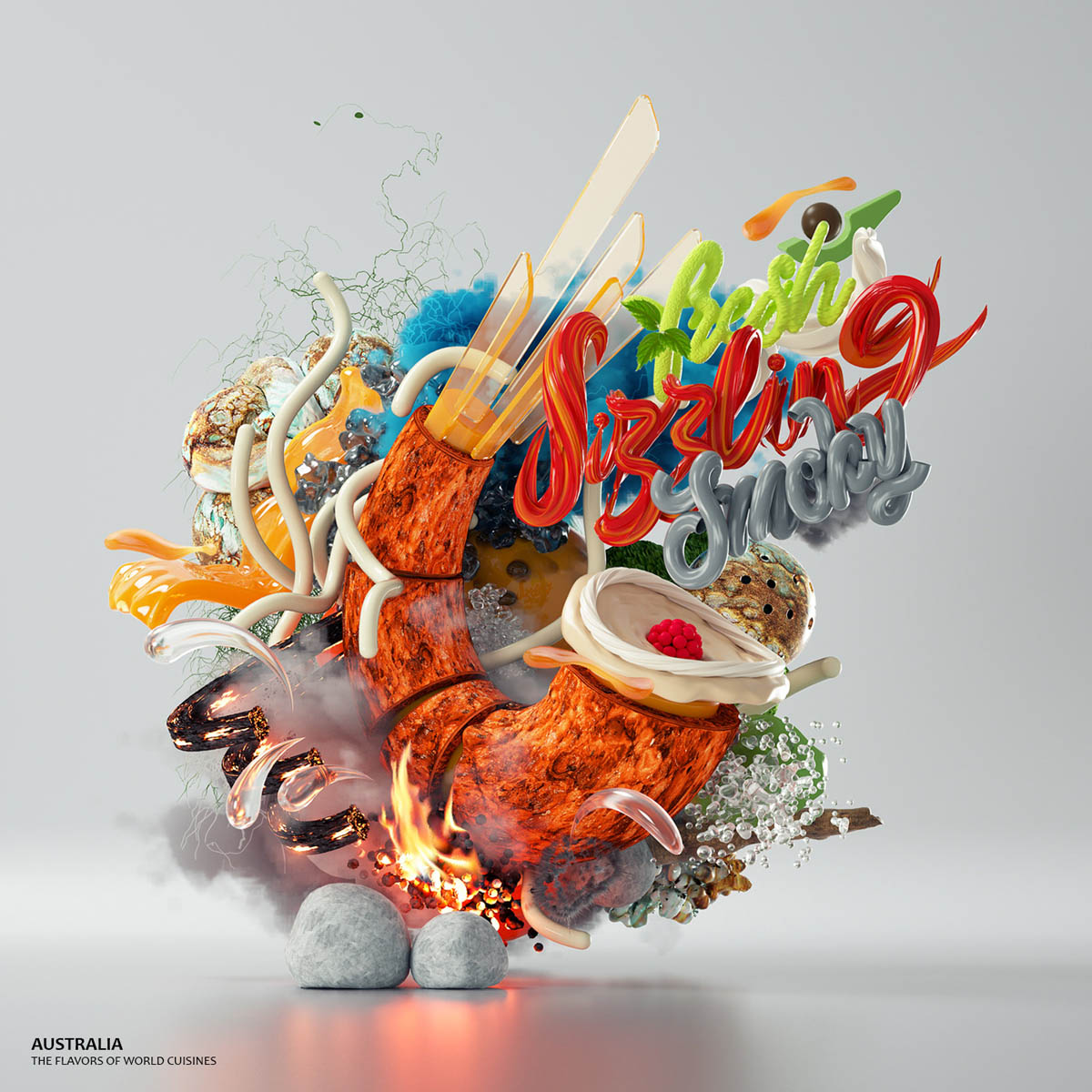 3d typography design australia by omanaquil