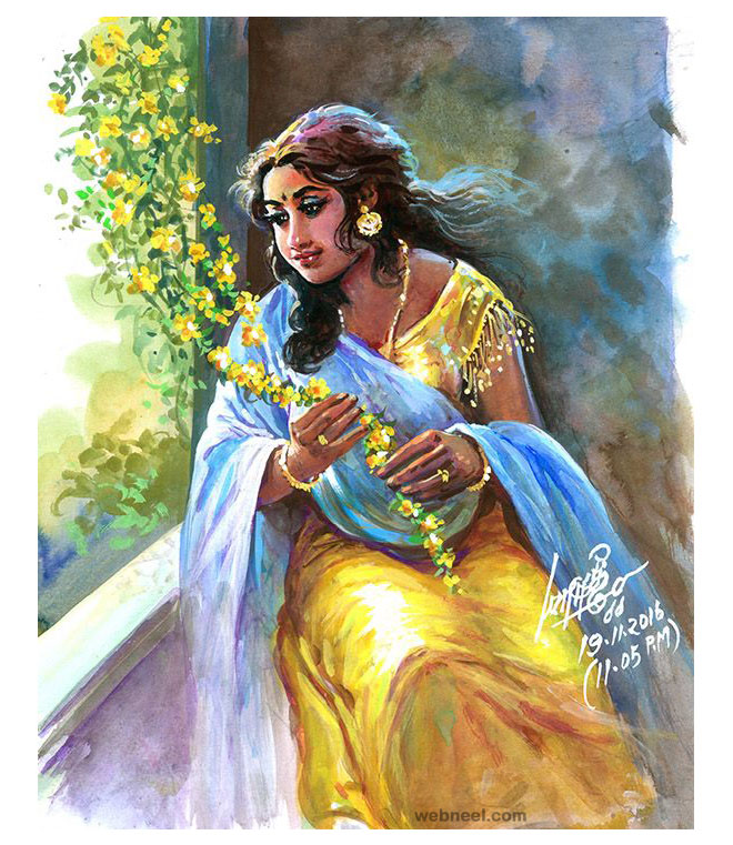 painting tamil nadu beautiful woman