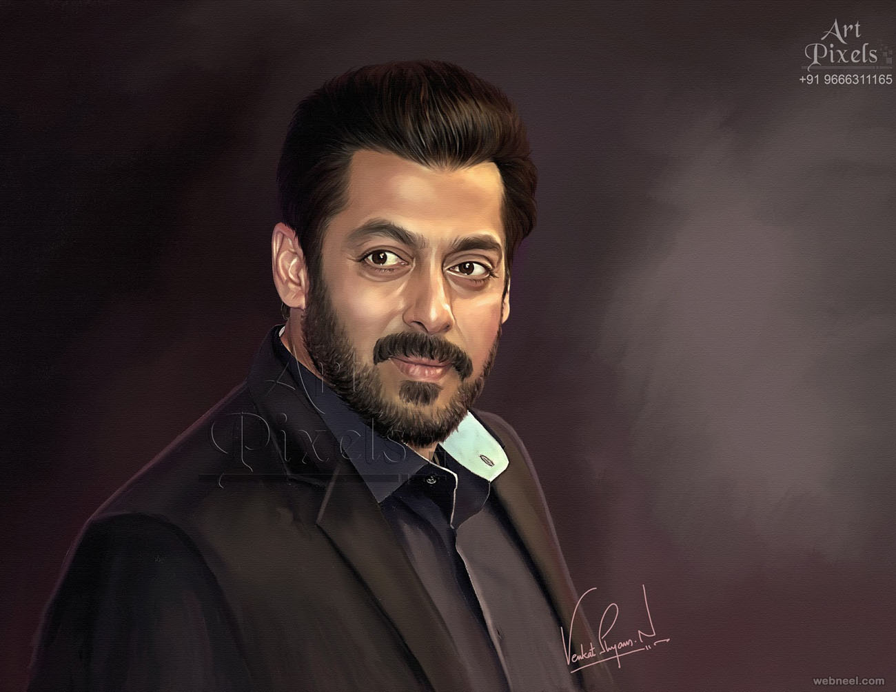 salman khan actor digital painting by venkat shyam