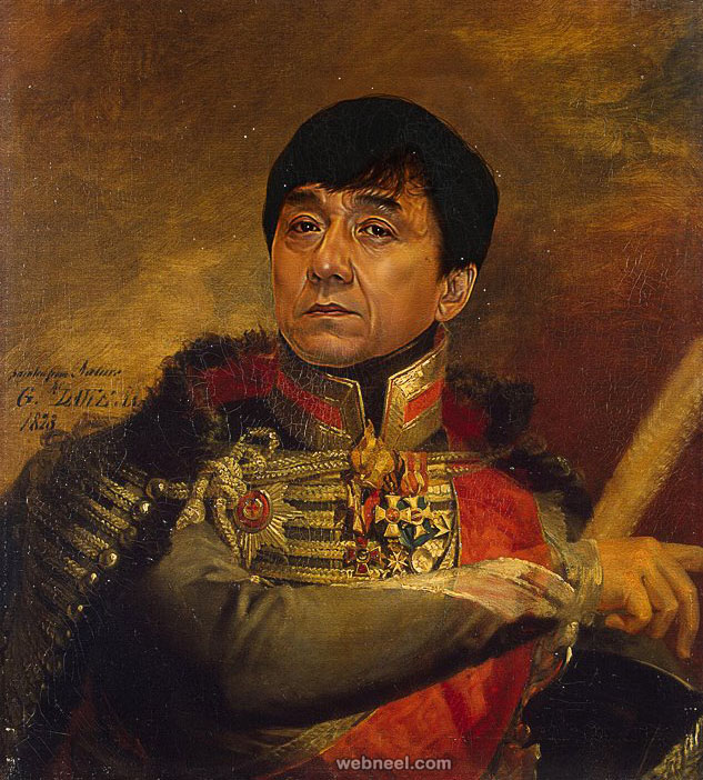 jackie chan digital painting military portraits by steve payne
