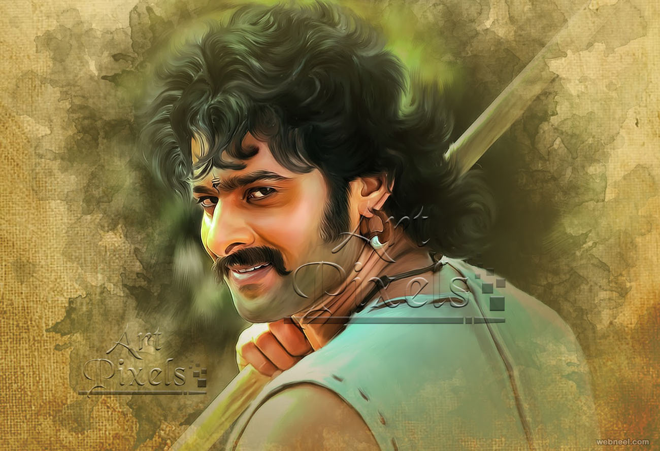 actor prabhas digital painting by venkat shyam