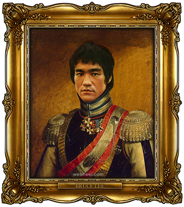 bruce lee digital painting military portraits by steve payne