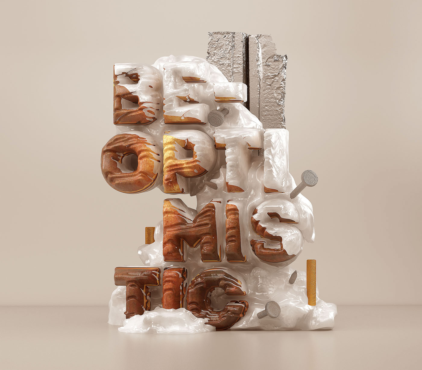 3d typography design be optimistic by omanaquil