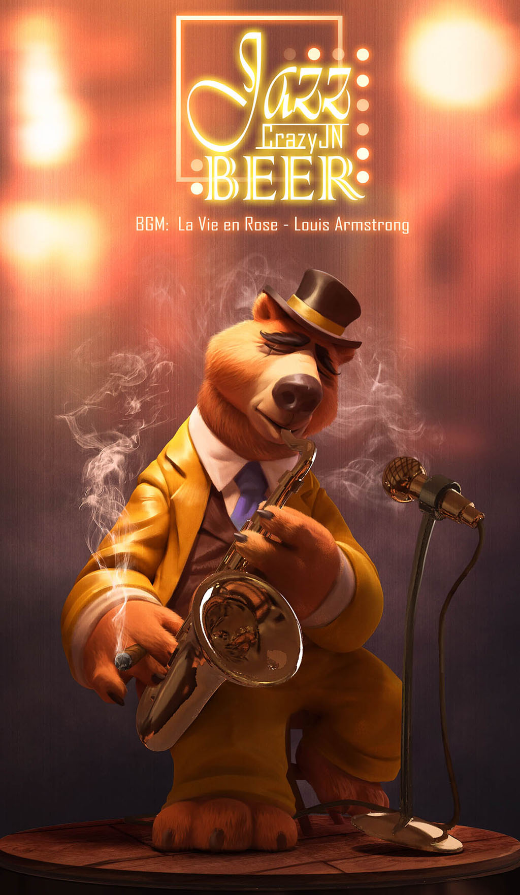 digital art illustration jazz bear