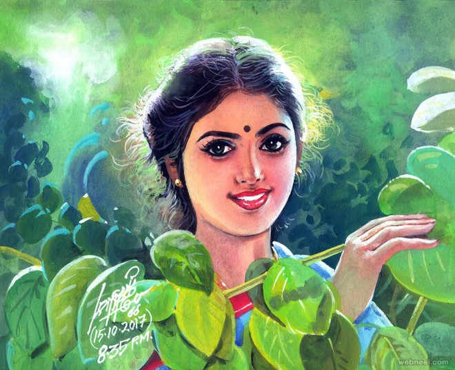 painting artwork tamil girl by maruthi