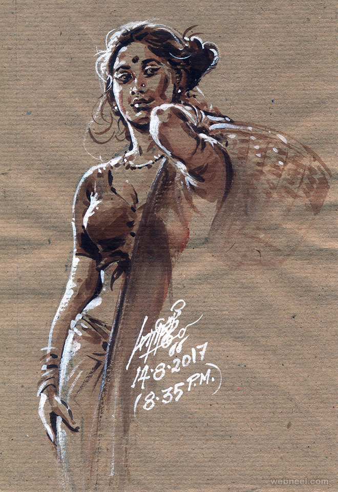 painting artwork tamil woman by maruthi