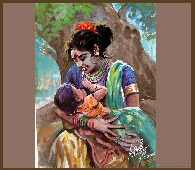painting tamil woman