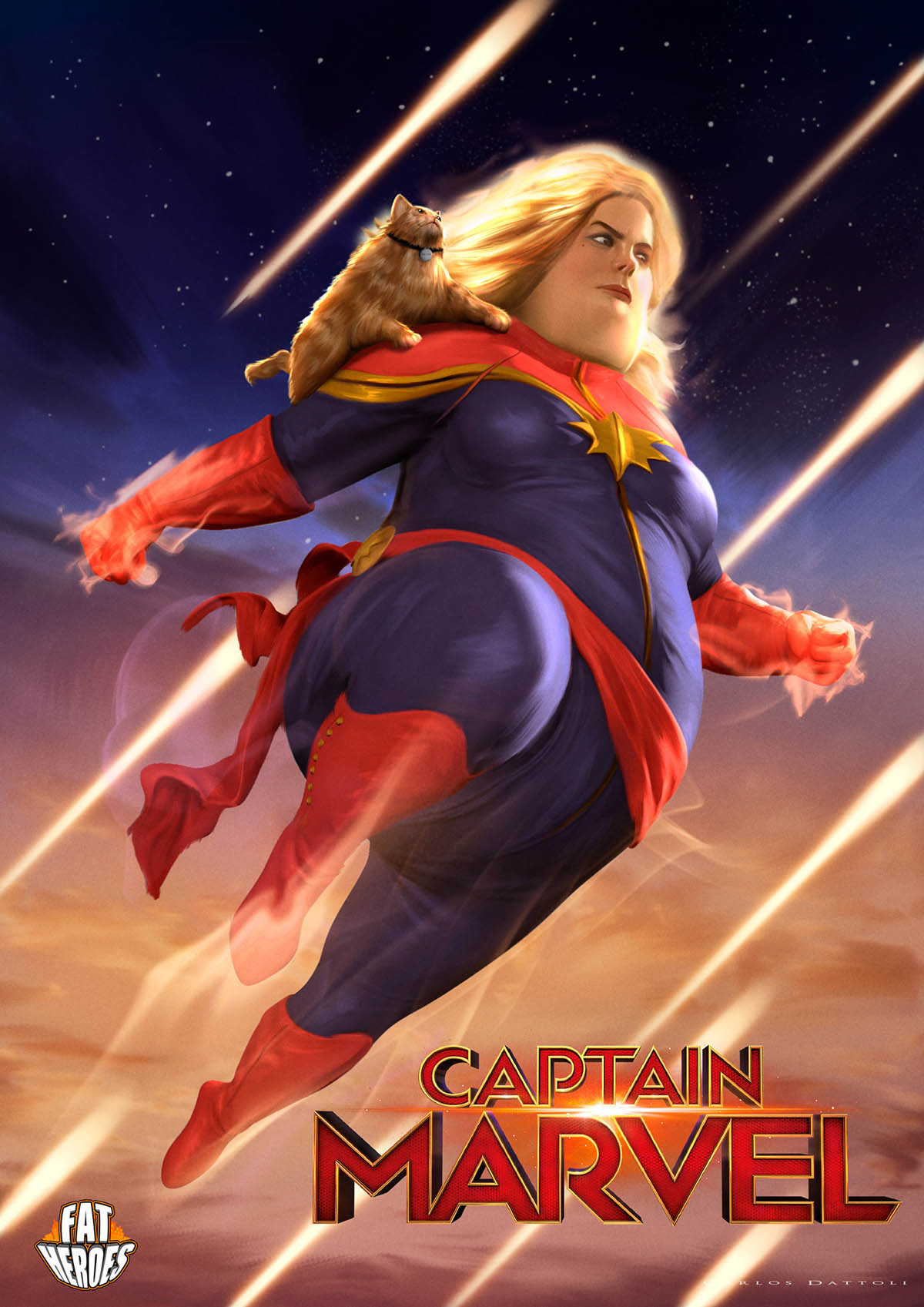digital art illustration funny fat heros captain marvel