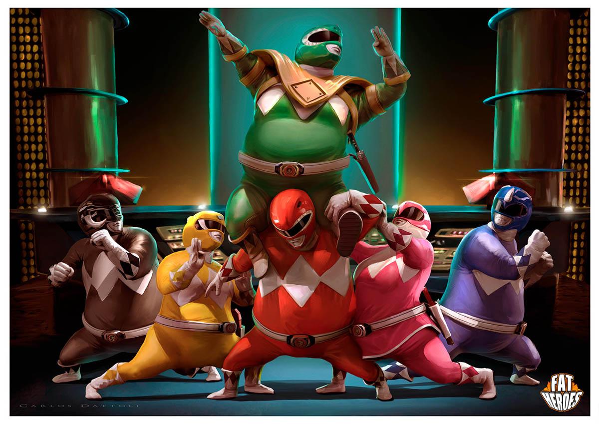 digital art illustration funny fat heros ninja turtles