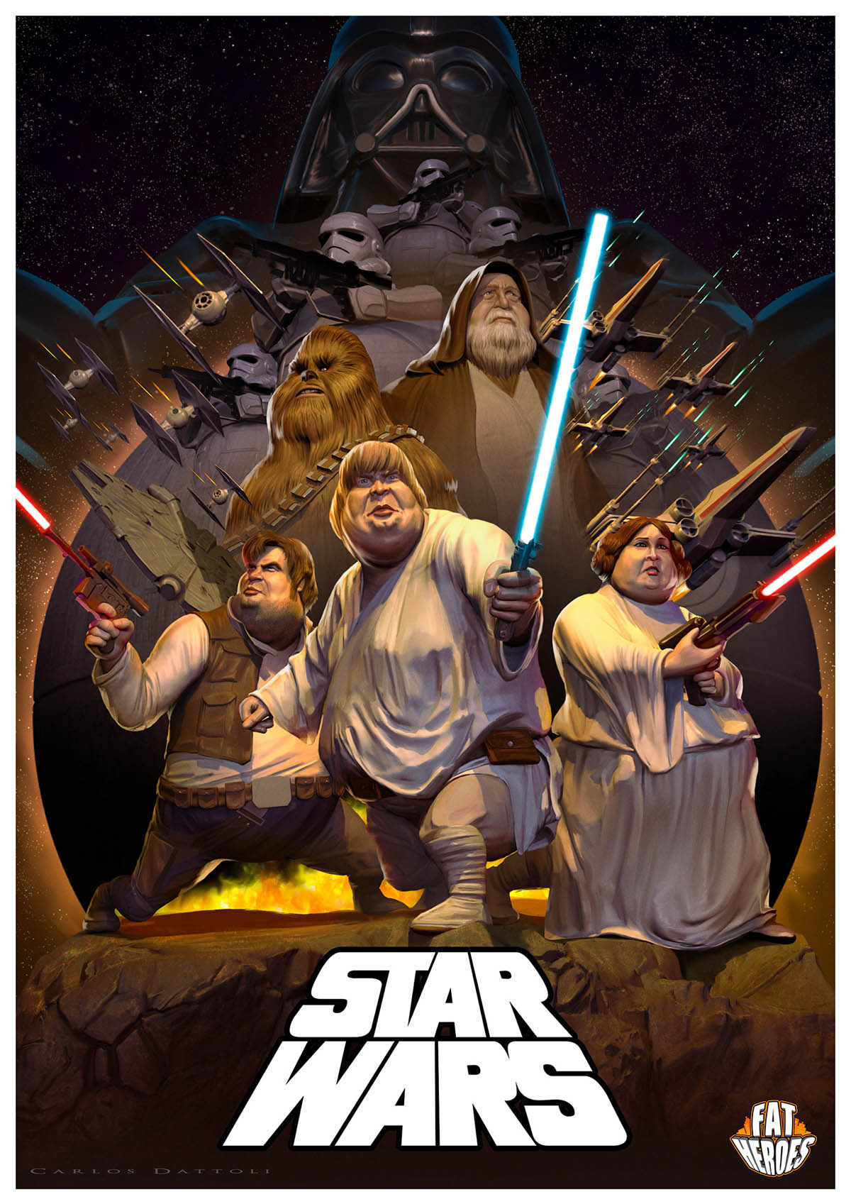 digital art illustration funny fat heros star wars
