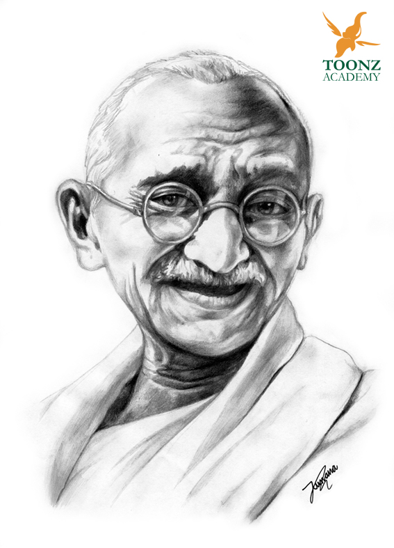 pencil sketch mahatma gandhi by nazim toonzacademy