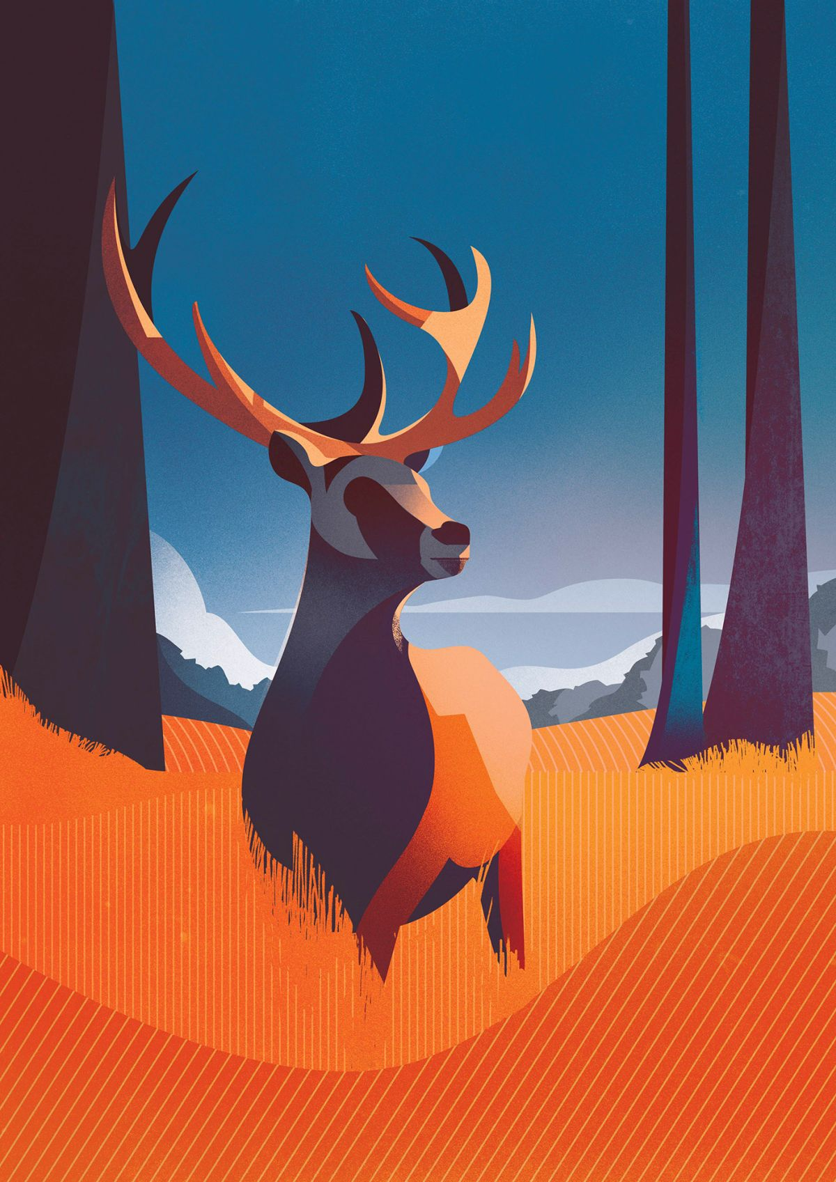 digital illustration editorial deer