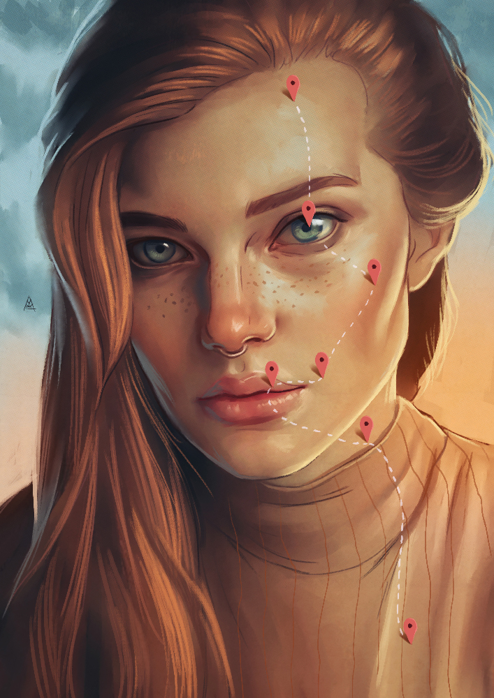 surreal painting girl face