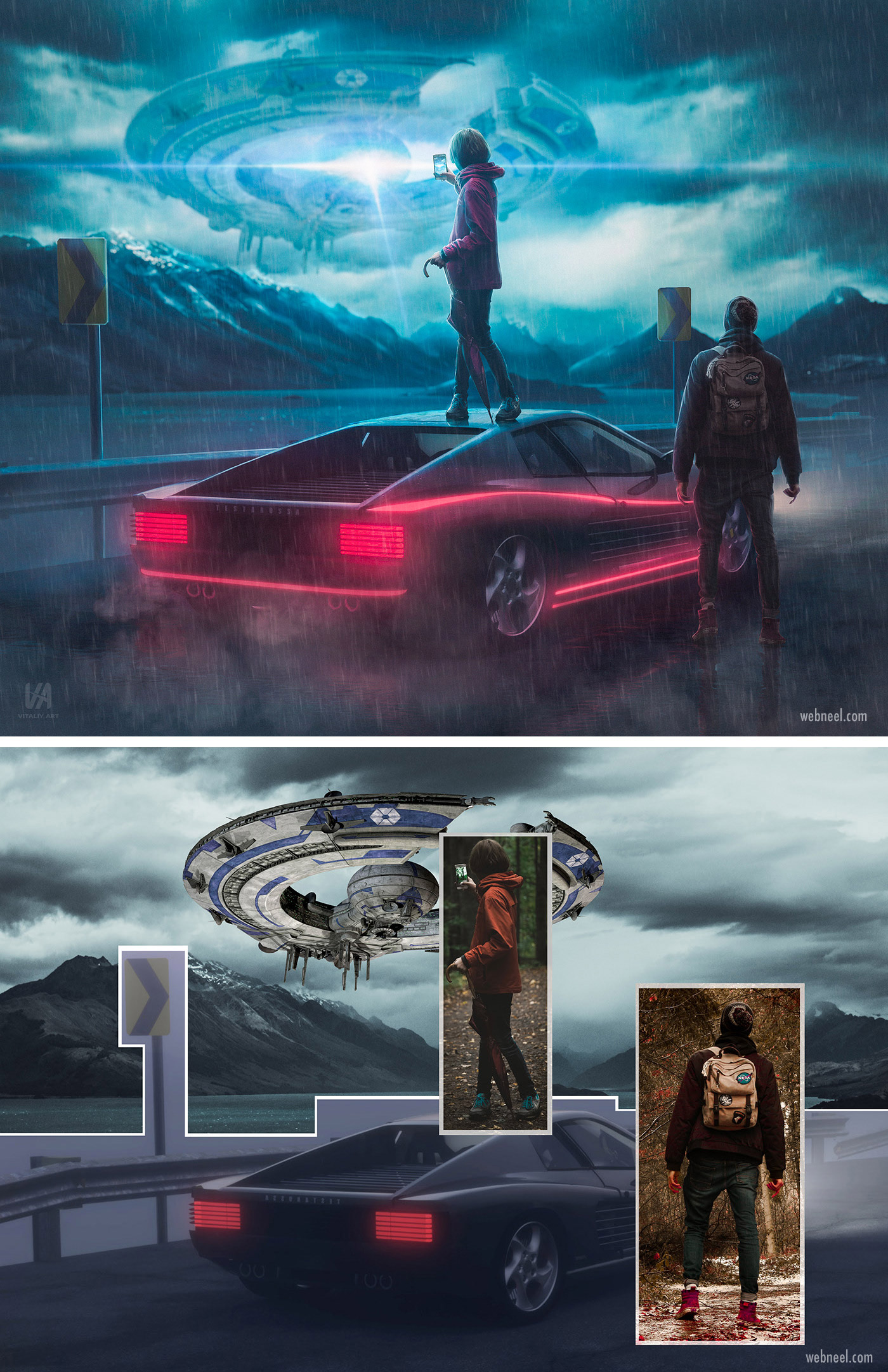 photo retouching after before futuristic neon sci fi ufo space