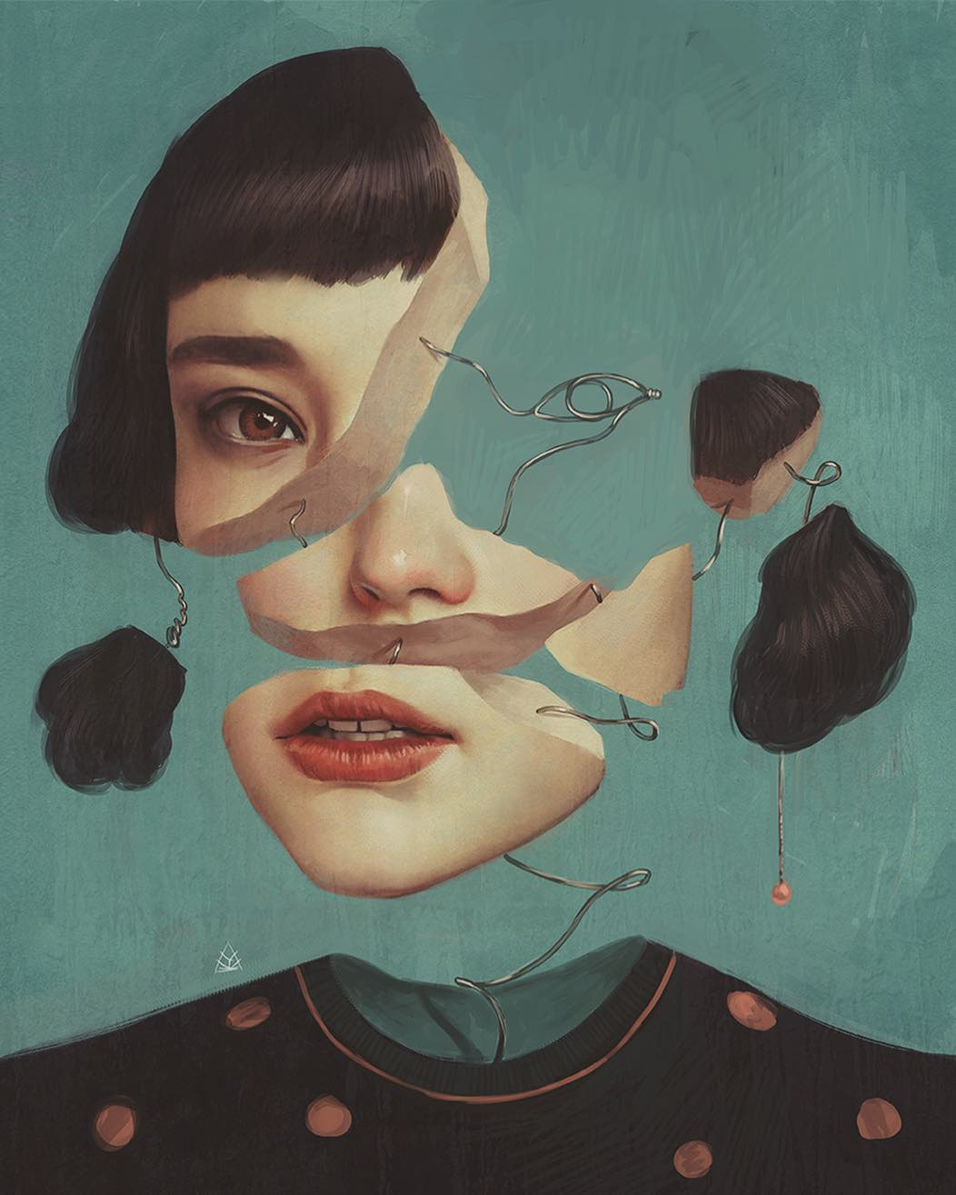 surreal painting girl face by aykut aydogdu