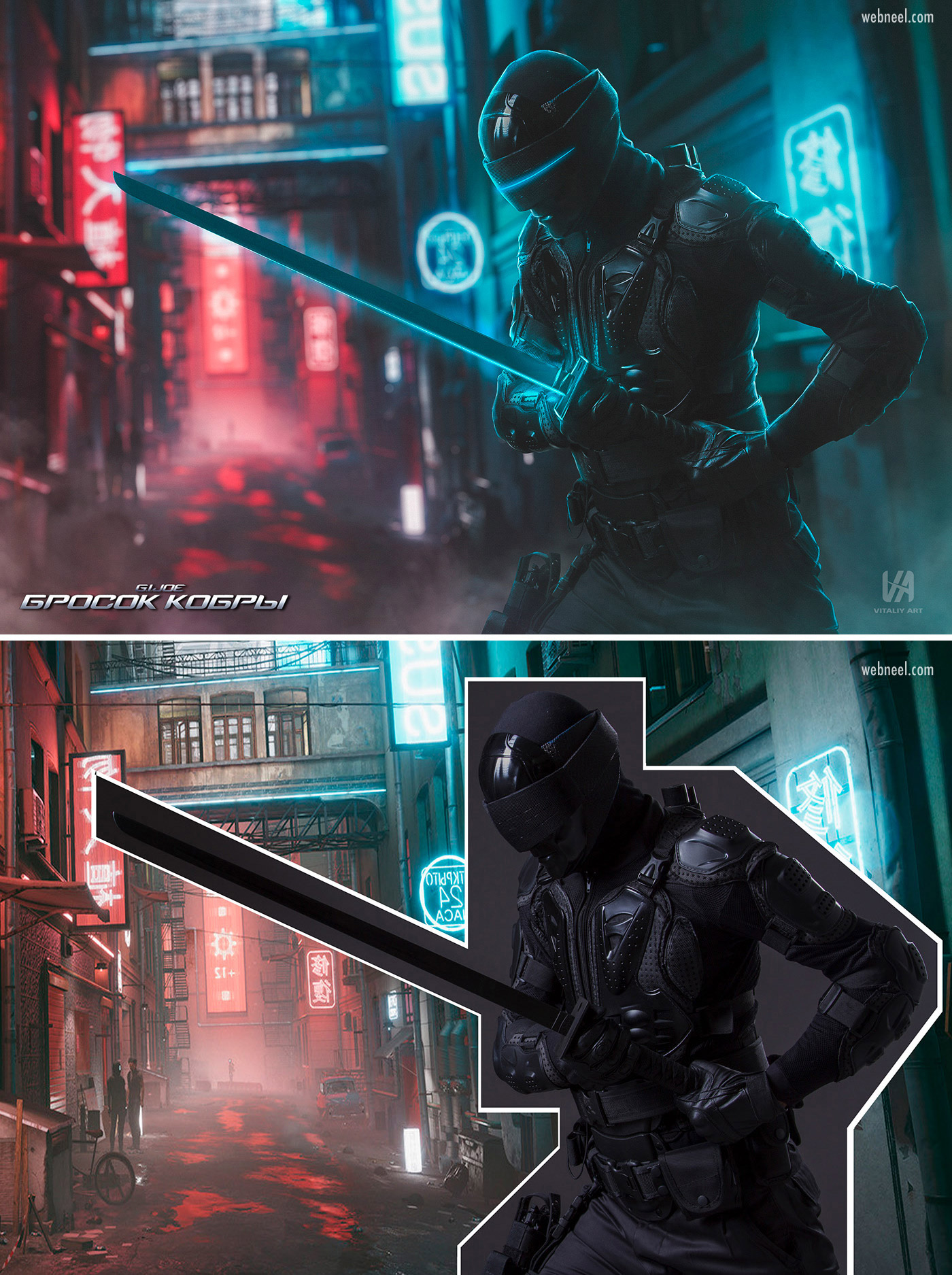 photo retouching after before futuristic neon sci fi fighter alien by vitaliy art