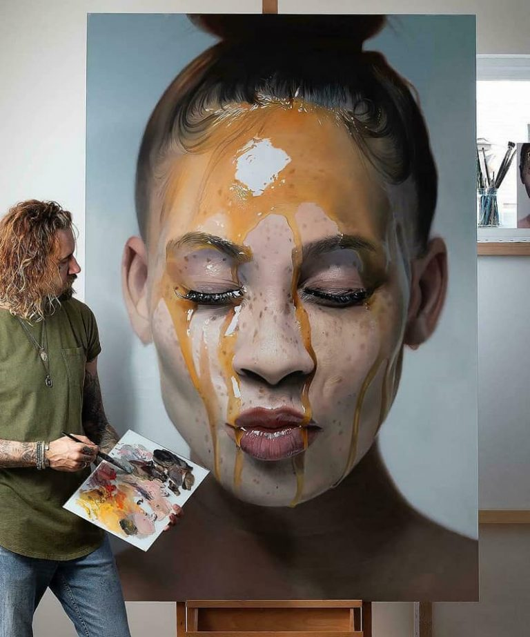 hyper realistic portrait oil painting woman