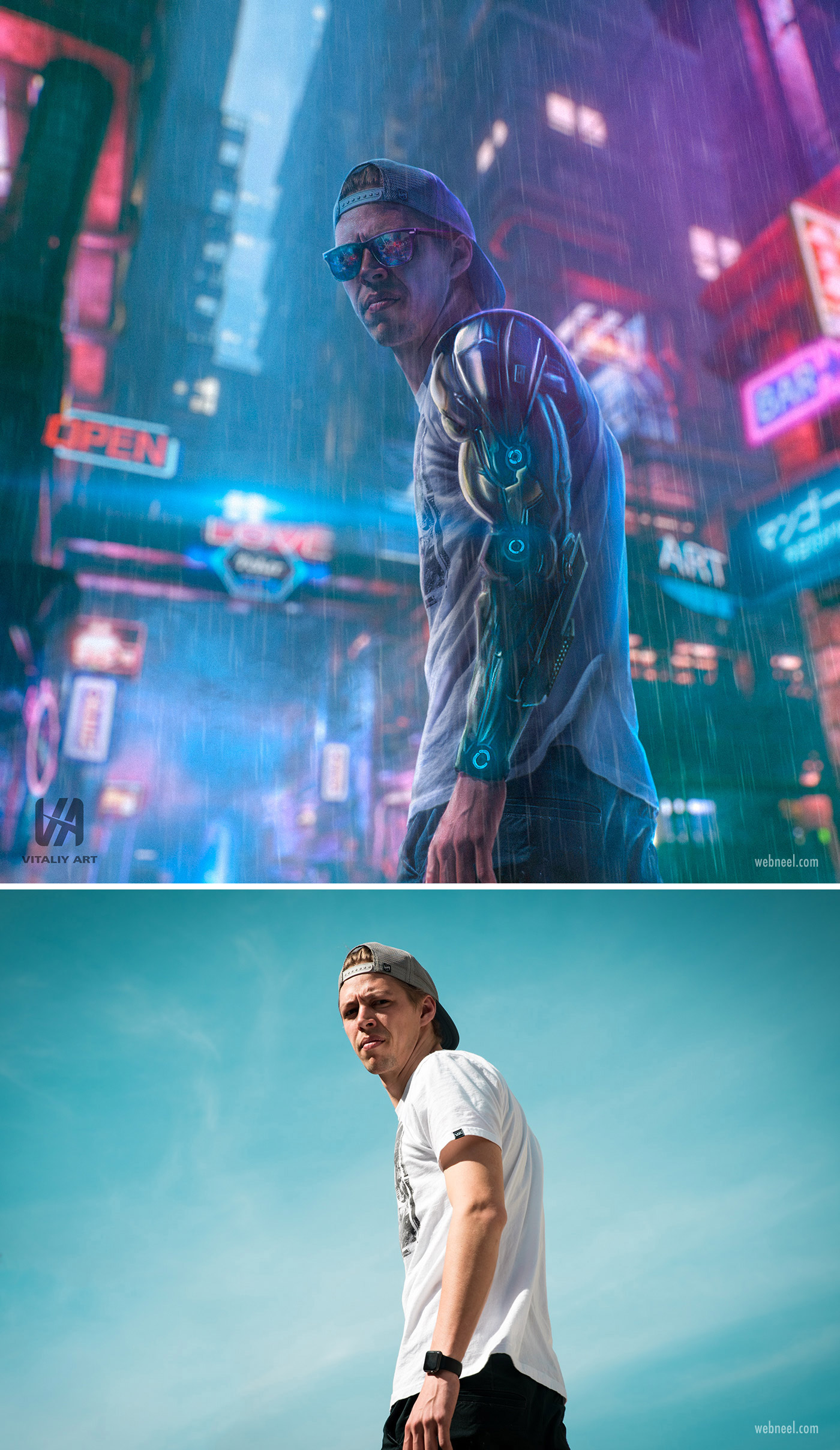 photo retouching after before futuristic neon sci fi man by vitaliy art
