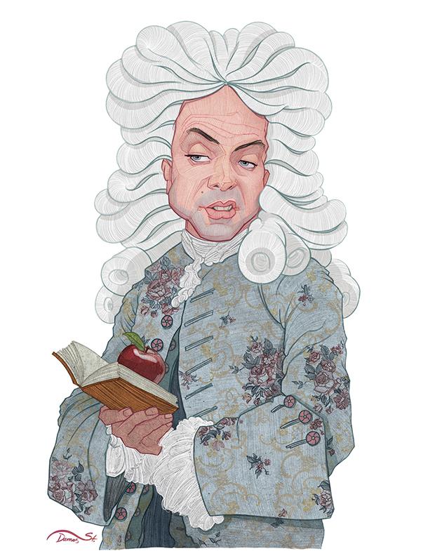 caricature illustration newton by stavros damos