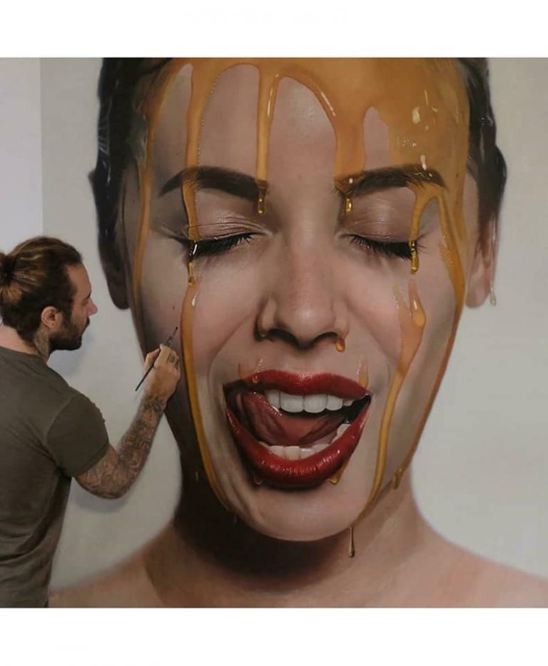 hyper realistic portrait oil painting woman by mike dargas