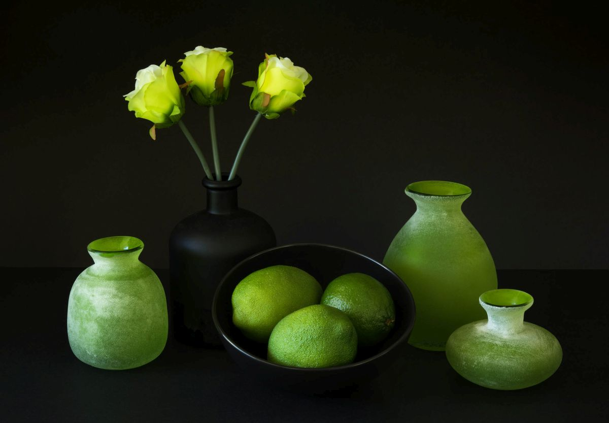 still life photography green vase