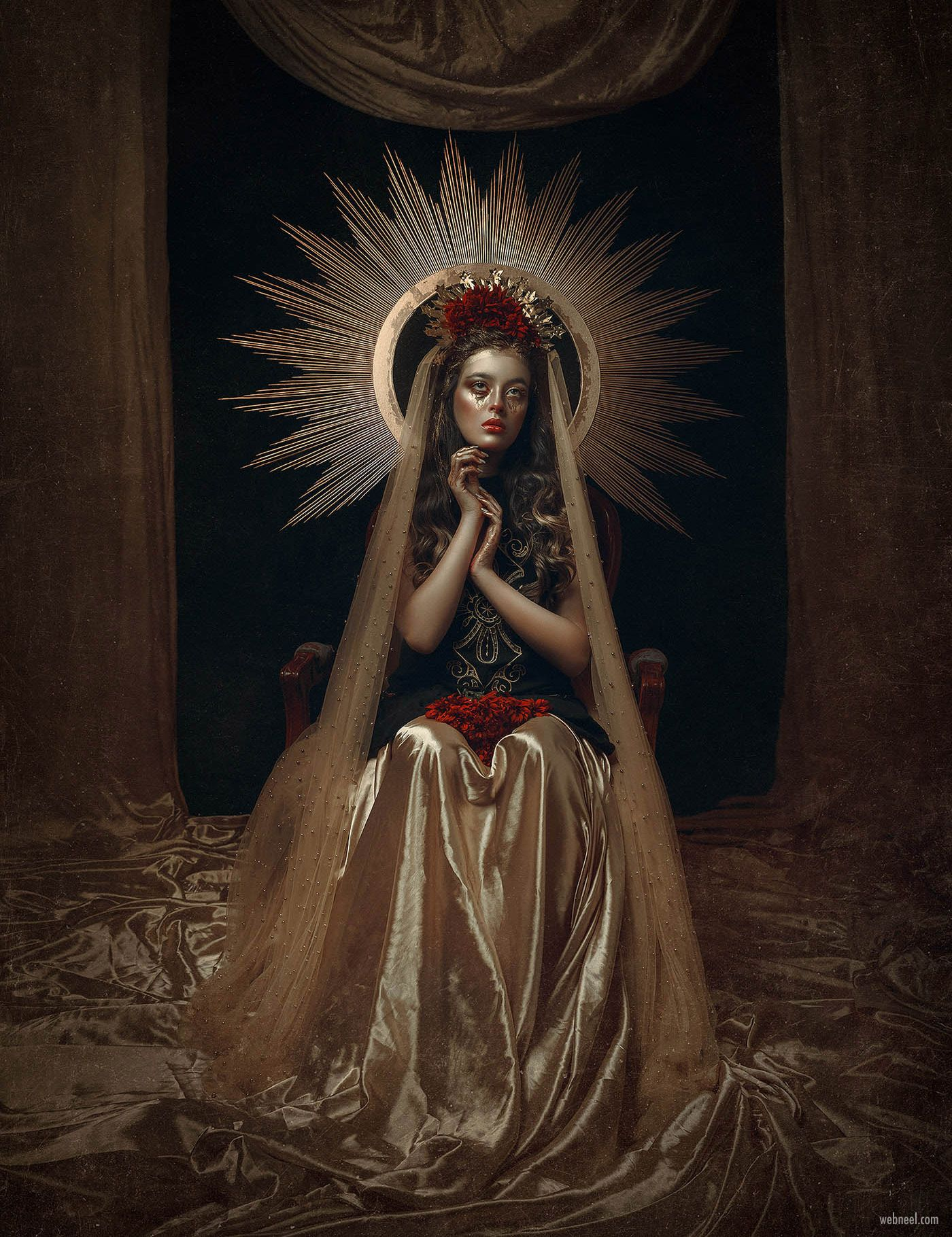 surreal photography photo retouching virgin mary by rebecca saray