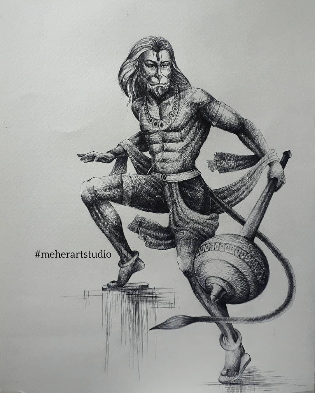 pen drawing hanuman