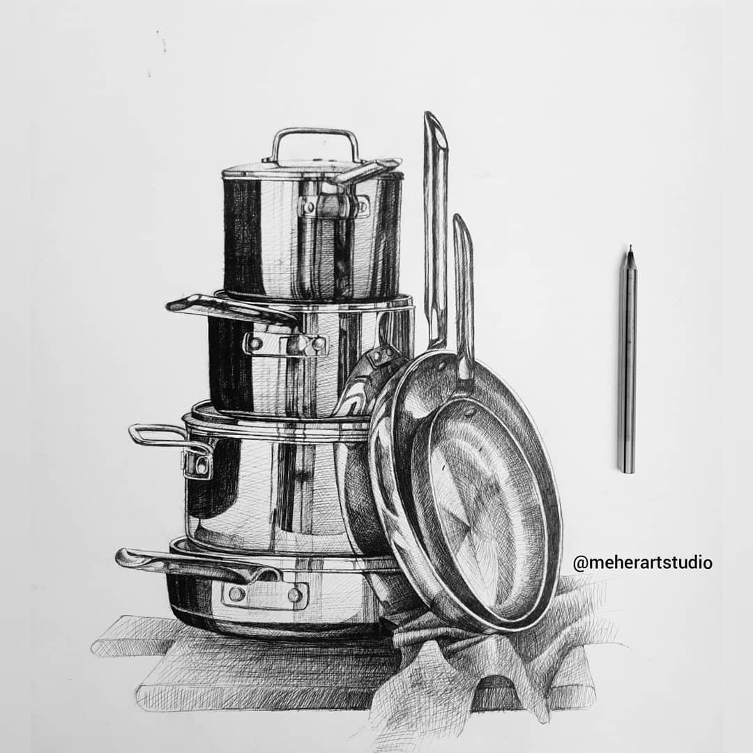 pen drawing lunchbox