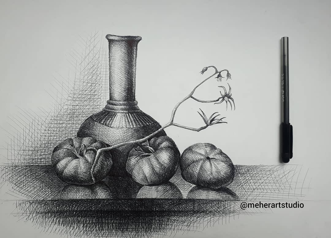 pen drawing still life