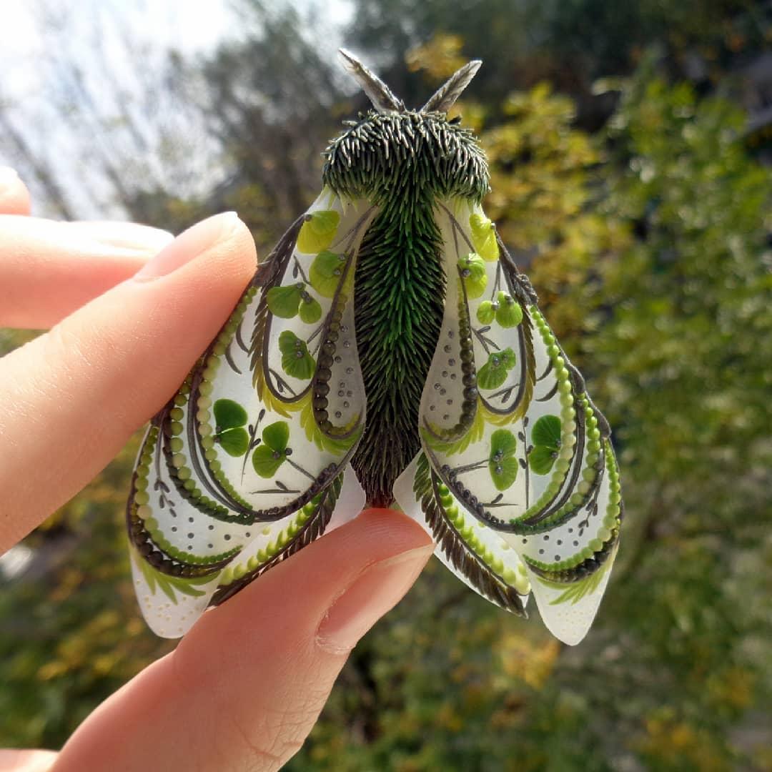 polymer clay sculpture moth butterfly darya telegina