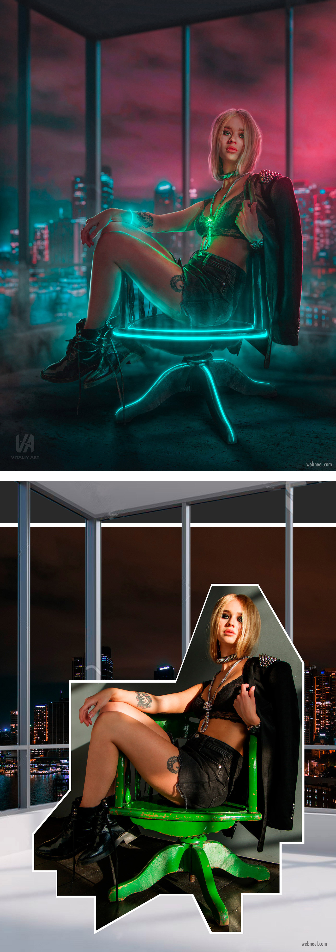 photo retouching after before futuristic neon sci fi girl city by vitaliy art