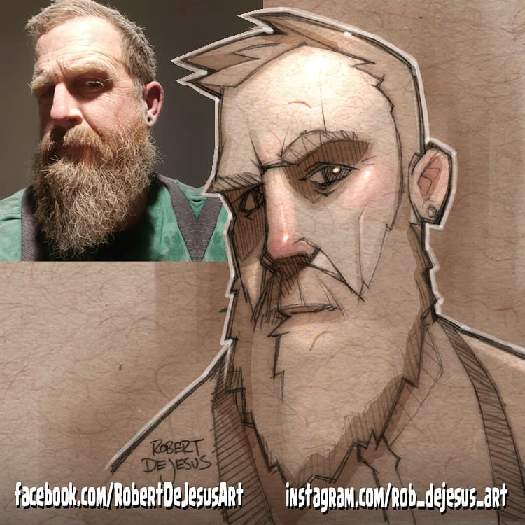 photo to cartoon drawing by robert dejesus